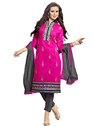 Fashion Queen Presents Pink & Black Colored Unstitched Dress Material