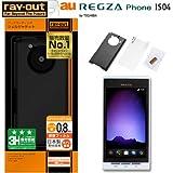 レイアウト REGZA Phone au by KDDI IS04用ハードコーティングシェルジャケット/パールブラック RT-IS04C3/B