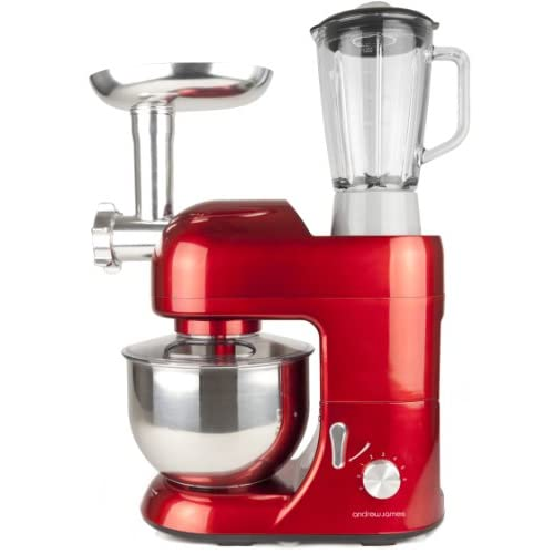 Andrew James 1300 Watt Multifunctional Red 5.2 Food Mixer With 2 Year Warranty, Meat Grinder And 1.5 Litre Blender...