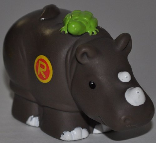 "Little People Rhino ""R"" on Chest (2004) - Replacement Figure Accessory - Classic Fisher Price Collectible Figures - Loose Out Of Package & Print (OOP) - Zoo Circus Ark Pet Castle - 1"