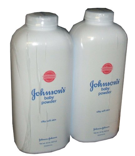Johnson and Johnson Baby Powder Silky Soft Skin 22 Ounce Bottle (Pack of 2)