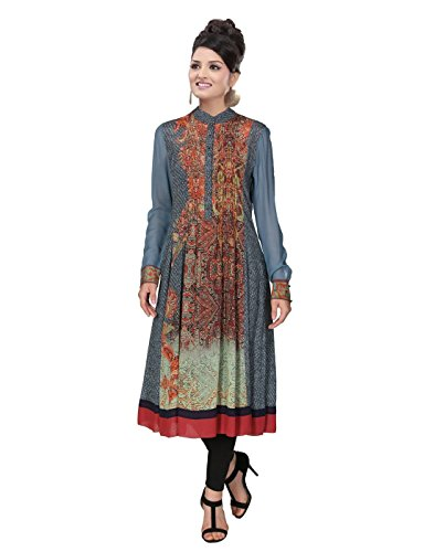 Surat-Tex-Grey-Color-Georgette-Printed-Stitched-Kurti-H248KI1000SU
