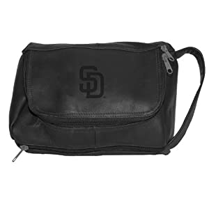 MLB San Diego Padres Black Leather Deluxe Shave Kit by Pangea Brands