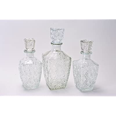 3-Piece Diamond Cut Glass Decanter Set