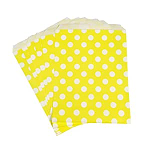 PrettyurParty Yellow Polka Dot Favor Bag