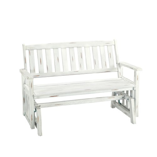 Home Styles 5660-592 Bali Hai Outdoor Glider Bench Washed White Finish