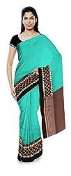 Priyam Sarees Women's Georgette Saree (Green & Grey)
