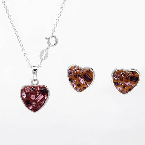Sterling Silver Crystals Heart Ladies Jewelry Set. Length 12 in. Total Item weight 5.3 g.