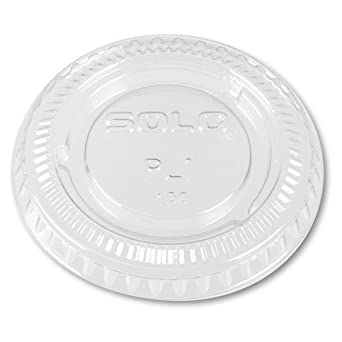 SOLO PL1-0090 Clear Polystyrene Soufflé Portion Cup Lid without Slot (50 Sleeves of 100 Per Case)