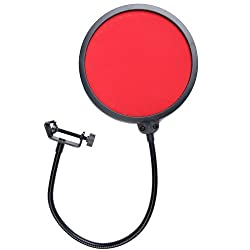 Vktech Studio Microphone Wind Screen Pop Filter Mask Shied for Broadcasting Red Red