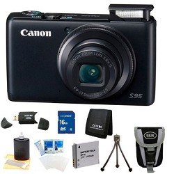 Canon PowerShot S95 10 MP Digital Camera with 3.8x Wide Angle Optical Image Stabilized Zoom and 3.0-Inch inch LCD Super Kit With DigPro Deluxe Case, Battery Pack, 3pc. Lens Cleaning Kit, 16 GB Memory Card, Card Reader, and more.