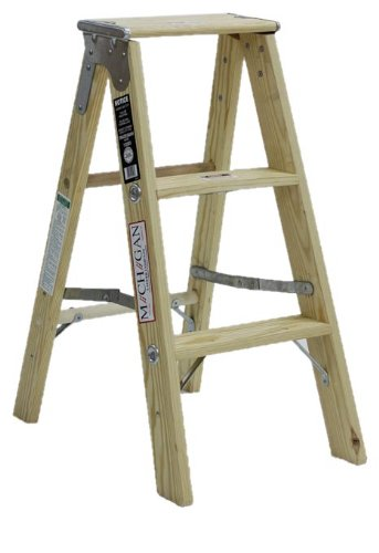 Michigan Ladder 1320-03 300 Pound Duty Rating Type 1A Tradesman Wood Stepladder, 3-Foot