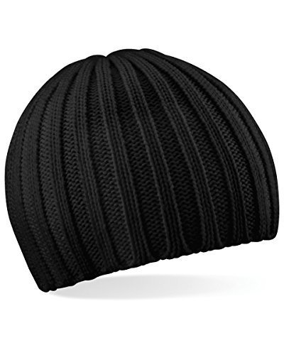 BEECHFIELD CHUNKY KNIT BEANY BEANIE HAT - 3 COLOURS (BLACK)