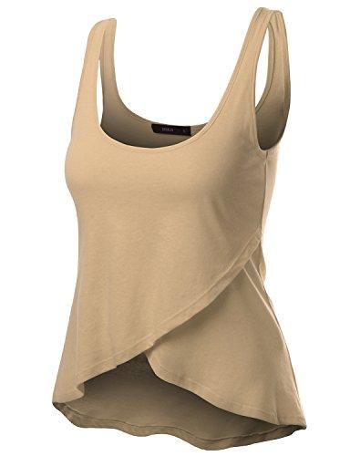 Doublju Women Comfortable Rap Designed Sleeveless Plus Size Top BEIGE,3XL