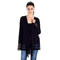 House Of Tantrums Black Rayon Crepe Embroidered Shrugs