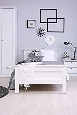 STOCKHOLM Landhaus Bett 90x200 in weiß