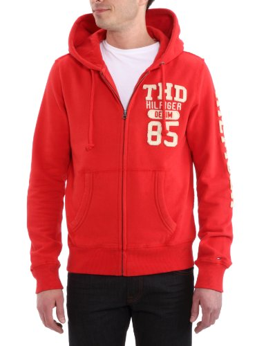 Tommy Hilfiger Mens Red Otter Zip Long Sleeved Hoody Red Medium