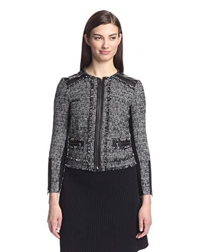 Rebecca Taylor Women's Tweed Jacket with Leather Trim