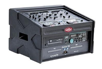 SKB 1SKB-84DJ DJ Shuttle: Roto-Mold Shell, 8U Slant Top Rack, 4U Front Rack, Wood-Reinforced, Soft Nylon Cover