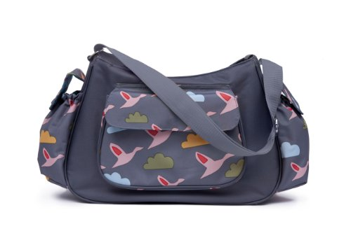 Pink Lining Rb Hobo Flying Geese Bag, Grey