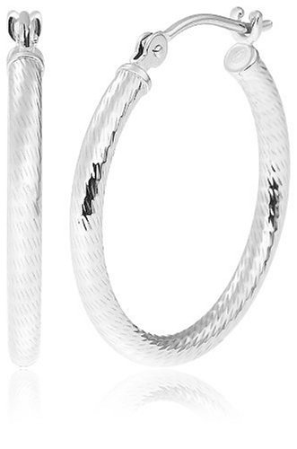 "Duragold 14k White Gold Diamond-Cut Hoop Earrings, (0.7"" Diameter)"