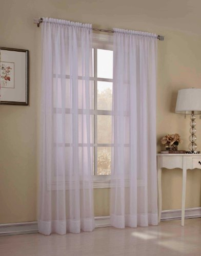 2 Piece Solid White Sheer Window Curtains/Drape/Panels/Treatment 58 x 84