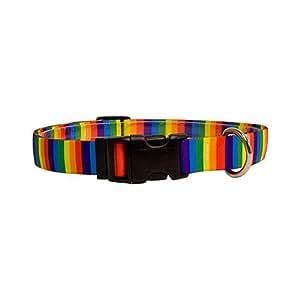 Yellow Dog Design Standard Collar, Large, Rainbow Stripes