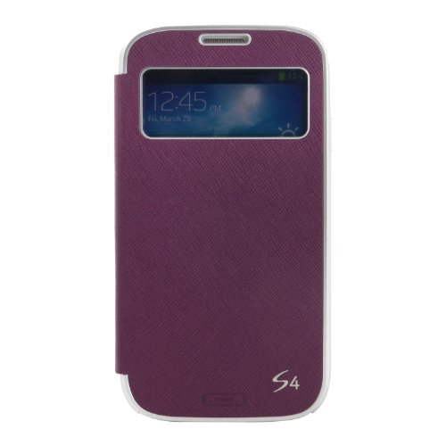 TRYIT TRYS4SVPUR S-View Flip Cover Folio Case with a Pocket and a Standing Function for Samsung Galaxy S4 - 1 Pack  - Retail Packaging - Dark Purple