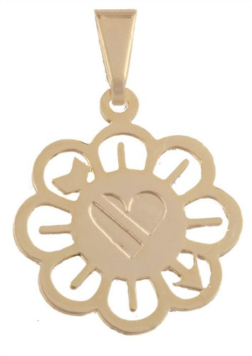 Small Gold Filled Flower with Cupid's Arrow and Heart Pendant
