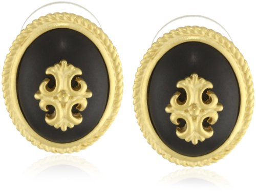 T Tahari Jet Resin Button Earrings