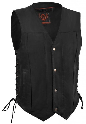 True Element Mens Single Panel Back Leather Motorcycle Vest with Concealed Carry Gun Pocket at Sears.com