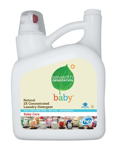 Seventh Generation Liquid Laundry 2x Ultra Concentrate, Baby, 150-Ounce Glass Bottle
