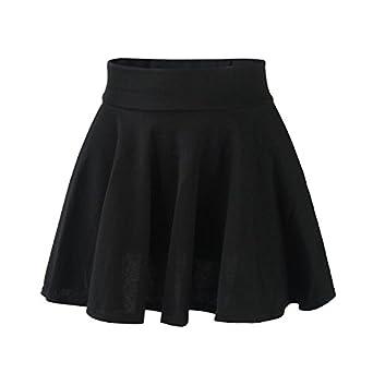 Fashion Womens Ladies High Waist Plain Pleated Flared Mini Skater,Black,One Size(Free Size)