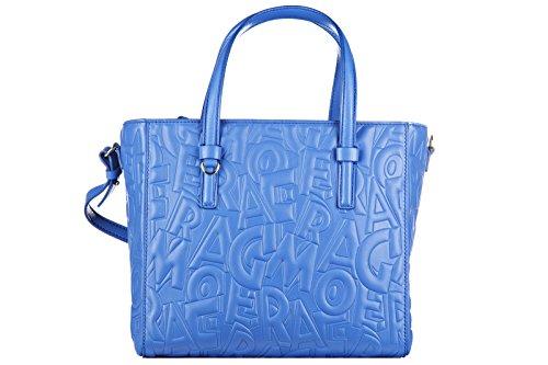 Salvatore Ferragamo borsa donna a mano shopping in pelle nuova bonnie blu