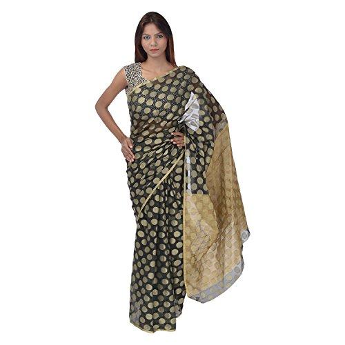 Saundarya Sarees Women Supernet Banarasi Black Saree