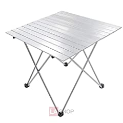 Roll-up Compact Aluminum Structure Portable Space Saving Easy Set Up Folding Camping Table Outdoor Picnic Table Desk with Carrying Case
