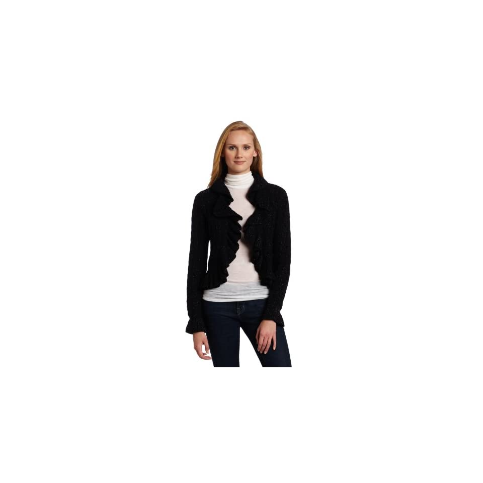 AK Anne Klein Womens Long Sleeve Ruffle Cardigan
