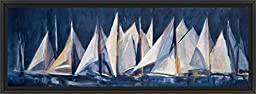 38in x 14in Sea Sail by Maria Antonia Torres - Black Floater Framed Canvas w/ BRUSHSTROKES