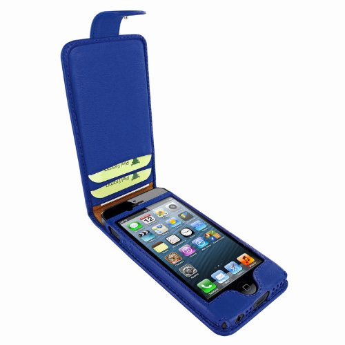 Great Price Apple iPhone 5 / 5S Piel Frama Blue Leather Cover with Snap Closure