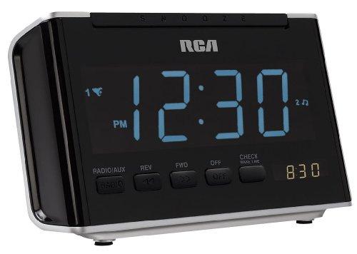 RCA RC46R AM/FM Alarm Clock Radio with Large Blue LED Display (Black)