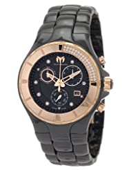 TechnoMarine Women's 110032C Cruise Ceramic Chronograph Diamond Gold-Tone Bezel Black Watch
