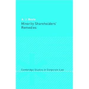 Minority Shareholders' Remedies (Cambridge Studies in Corporate Law) (Hardcover)