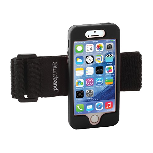 TuneBand for iPhone 5S, Premium Sports Armband with Two Straps and Two Screen Protectors (Black)