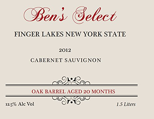 "2012 Ben Ish Winery ""Ben'S Select"" Finger Lakes New York State Cabernet Sauvignon With Personalized Label 1.5 L"