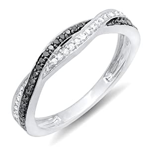 0.25 Carat (ctw) 10K White Gold Round Black & White Diamond Anniversary Wedding Band Swirl Matching Ring 1/4 CT (Size 5)