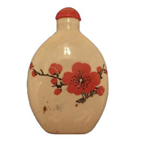 Beautiful Porcelain Chinese Snuff Bottle with Herbal Snuff (Snuff Bottle Spoon compare prices)