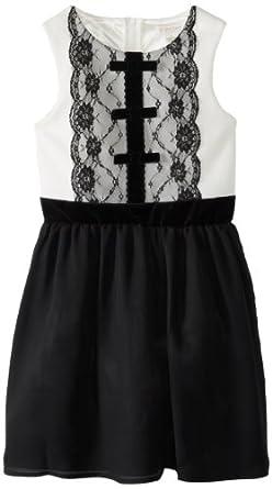 kc parker Big Girls' Big Girl Ponte Bodice with Lace and Chiffon Skirt Dress, Black, 8