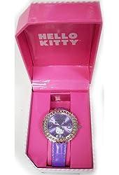 Hello Kitty Women's HK1743 Analogue Purple Strap Watch with Stone