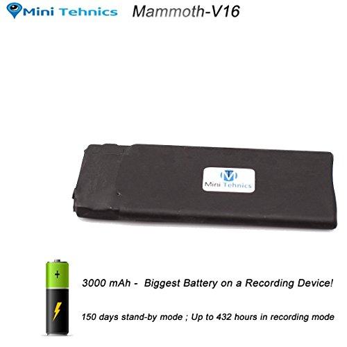 Registratore vocale spia con attivazione vocale e vita della batteria reale ultra lunga 18 giorni - [ 192 Kbps qualità CD] 6mm di spessore - 16Gb di memoria interna - ✓✓✓la batteria più grande✓✓✓ - Registratore spia -Dispositivo d'ascolto di dimensioni ridottissime - Supporta fino a 288 ore di registrazioni, Facile da usare -Un solo pulsante, garanzia 2 anni, Registratore Professionale con Attivazione Vocale - [MiniTehnics] Mammoth-V16