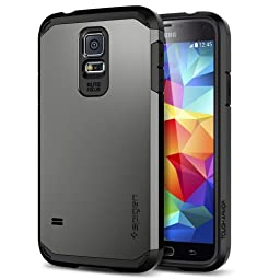 Galaxy S5 Case, Spigen [Tough Armor] Heavy Duty [Gunmetal] Dual Layer EXTREME Protection Cover Heavy Duty Case for Samsung Galaxy S5 (2014) - Gunmetal (SGP10762)